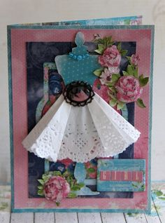 Jolanda Meurs designed this gorgeous card for the July card challenge at Bo Bunny. Love how she used a doily for the skirt. #BoBunny, @Jolan Meurs