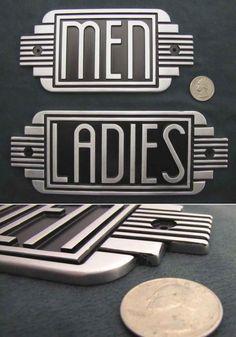 Art deco metal restroom ladies / men sign / steampunk / machine age