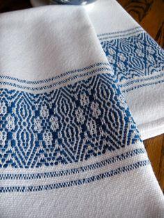 Handwoven Towel Blue Flower Border by ThistleRoseWeaving on Etsy, $23.00