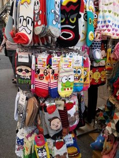 A selection of cute and trendy socks including Gangnam Style available in Edae, Seoul, South Korea.   http://www.trazy.com/spot/102/Seoul-South%20Korea-Ewha%20Women%27s%20University%20Shopping%20district%20Edae