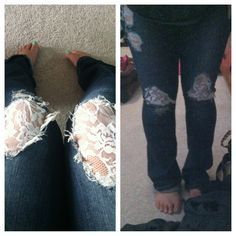 Torn jeans patched with lace (idea from my friend joy's pin)..since they were torn on the knees I had to sew with give in the lace so standing looks diff. But was super easy!!