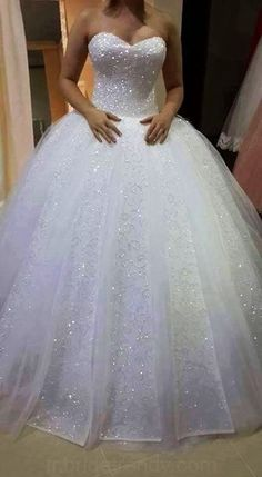 Charming Tulle Ball Wedding, Appliques Gown Wedding Dress,Sparkly Pearls Long Wedding Dresses,White Bridal Dress is part of Ball gowns wedding Shipping time rush order within 15 days to arri - White Bridal Dresses, Princess Wedding Dresses, Dream Wedding Dresses, Bridal Gowns, Wedding Gowns, Tulle Wedding, Wedding Dresses With Bling, Wedding Dress Sparkle, Bling Wedding