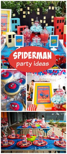 A Spiderman boy birthday party with a cityscape, cake and a candy buffet! See more party planning ideas at CatchMyParty.com!