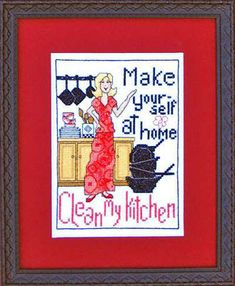 Make Yourself At Home, Clean My Kitchen-Bobbie G Designs - Cross Stitch Pattern