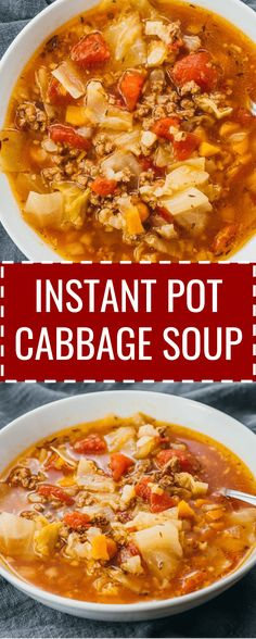 recipes soup This hearty Instant Pot cabbage soup recipe with ground beef is great for anyone. This hearty Instant Pot cabbage soup recipe with ground beef is great for anyone on a keto, low carb, paleo, weight watchers, or healthy diet. Polish Stuffed Cabbage, Slow Cooker Recipes, Cooking Recipes, Lunch Recipes, Pressure Cooker Soup Recipes, Keto Recipes, Dessert Recipes, Grill Recipes, Donut Recipes