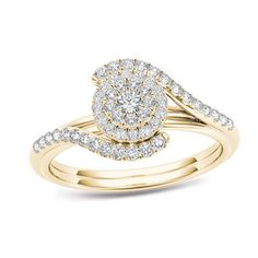 Zales: 3/8 CT. T.W. Composite Diamond Frame Bypass Engagement Ring in 14K Gold