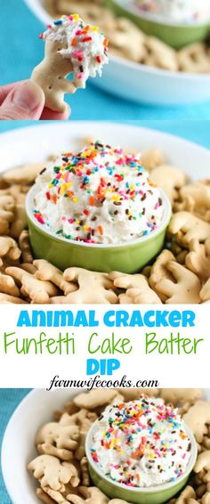 This Animal Cracker Funfetti Cake Batter Dip would make the perfect recipe for a party or family gathering and would also make a fun after school snack. #Dip #PartyIdeas