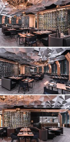 This modern restaurant has large glass walls located behind the dining booths that show off the wine selection available for guests. Plafond Hexagonally Shaped Ceiling Coffers Help Dampen Sound In This Restaurant Coffee Shop Design, Cafe Design, House Design, Design Design, Design Bar Restaurant, Deco Restaurant, Commercial Design, Commercial Interiors, Modern Interior Design