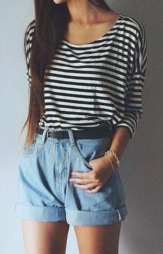 summer outfits Striped Top + Denim Short