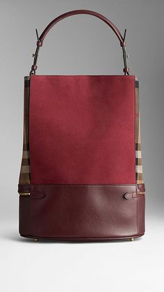 Medium House Check and Leather Bucket Bag   Burberry