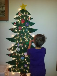 Our felt Christmas tree, complete with lights!