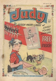 """Judy girl's comic 4 1/2 d (4.5 old pence) 1960s for me - (companion paper to """"Bunty""""!)"""