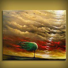 by Matthew Hamblen - Lexington, North Carolina, US (Retro Cloud Painting Tree Abstract Landscape).