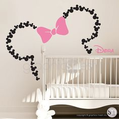 Make your baby girl nursery special with these Mickey Mouse ears wall decals and a personalized name lettering. This set comes with a big bow in
