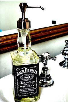 Jack Daniels bottle as a soap dispenser! Totally going to do this!