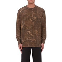 Yeezy Men's Camouflage-Print Thermal-Knit Sweatshirt (£220) ❤ liked on Polyvore featuring men's fashion, men's clothing, men's hoodies, men's sweatshirts, mens sweatshirts and hoodies, mens sweatshirts, mens crew neck sweatshirts, mens camo sweatshirt and mens crewneck sweatshirts