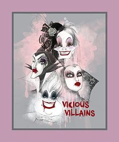 "$33.59 for 15yd bolt Springs Creative Disney Villains 100% Cotton D/R Print Fabrics, Vicious Villains Panel, 43/44"" Wide Springs Creative Products"