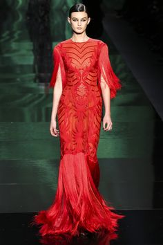 red evening gown by monique lhuillier