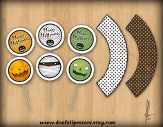cupcak topper, circl topper, sticker, halloween cupcakes, cupcake toppers