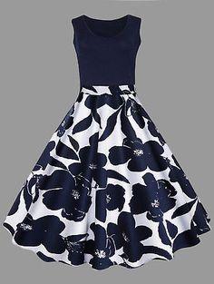 Plus Size Floral Printed Midi Vintage Flare Dress JF
