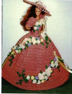 (1) CROCHET FASHION DOLL PATTERN FOR 11 1/2 Fashion Dolls such as Barbie . This is a pattern NOT the finished product. #268 ROSE GARDEN PARTY-Original Design from ICS Original Designs- Make with #10 Crochet Thread. If you would like to have the patterns emailed to you rather