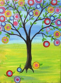Print of Tree of Life Mexican Folk Art Style Happy Tree Painting Penny Tree Quilling, Mandala, Tree Canvas, Collaborative Art, Spring Art, Arte Popular, Painting Lessons, Mexican Folk Art, Tree Art