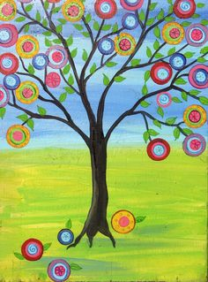 Tree of Life Mexican Folk art Happy Tree Print of by icColors, $20.00