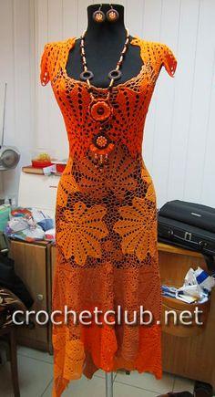 Платье крючком «Золотой листопад» - Вязание Крючком. Блог Настика. Схемы, узоры, уроки бесплатно