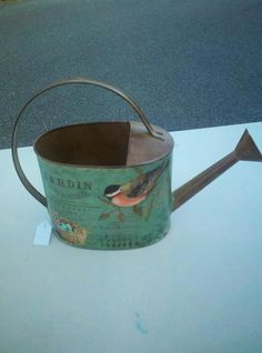 Green painted  bird decorative watering can, great Spring accent! www.kathysholiday.com