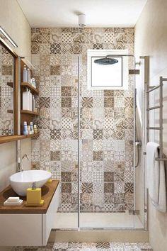 Patchwork tiles and earth tones for an apartment interior – diy bathroom decor Bad Inspiration, Bathroom Inspiration, Bathroom Ideas, Bathroom Remodeling, Bathroom Grey, Master Bathroom, Morrocan Bathroom, Bathroom Yellow, Cozy Bathroom