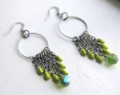 Boho Cluster Earrings Amazonite Gemstone Shell by FlowerleafStudio