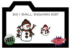 A fun, free file folder activity for students to sort snowmen by size!