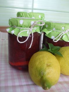 strawberry jam with mint and lemon...
