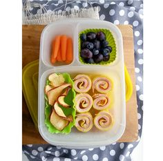 """I'm so excited about one of my latest grain-free discoveries — a fast, easy way of making the Kidlets' favorite quesadillas or, as shown in the lunch above, ham and cheese grain-free pinwheels. In This Bento: Grain-free Ham and Cheese Pinwheels, Dried Apple Chips, Blueberries and Grapes, Baby Carrots. Stored in an Easy Lunchbox The [...]"""