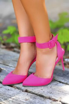 Hot Pink Ankle Buckle Pumps <3