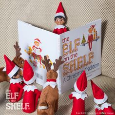 Gather 'round! This scout elf is reading his favorite story to his friends and Elf Pets reindeer! |Elf on the Shelf Ideas | Multiple Elf on the Shelf Ideas | Elf Pets Ideas