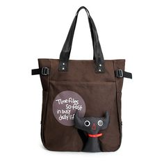 Really Cute Cartoon Cat Canvas Totes