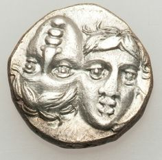 MOESIA. Istros. Ca. 4th century BC. AR drachm (5.20 gm). Two male heads facing, one inverted / Eagle on dolphin left.