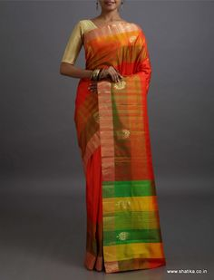 Anya Ravishing Red with Band of Colors Pallu #PureMulberrySilkSaree