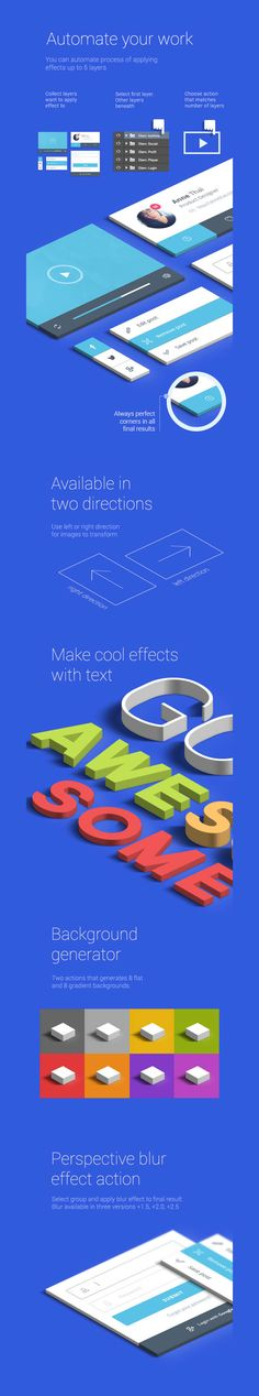 The isometric mock-up kit includes a handful of actions that instantly transforms your work (particularly good for type and ui design) from a flat image to an isometric floating board that will grab the eye of your audience. What's better is that this is only $4. More info here.