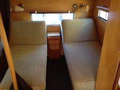 Aljoa Sportsman vintage camper interior circa1954 beds are built like chaise lounges