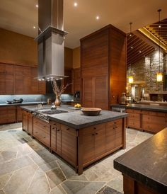 Contemporary Kitchen Countertop Ideas Leathered Granite Countertops Wood  Cabinets Natural Stone Wall