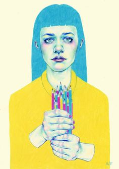 Natalie Foss is a Norwegian freelance illustrator based in Oslo. Foss primarily works with colored pencils and often portrays people. For the bodies a. Illustrators, Illustrations Posters, Character Design, Illustration, Drawings, Juxtapoz, Art, Yellow Art, True Art