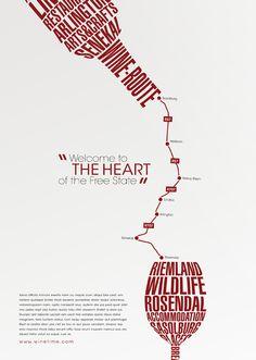 Wine Route Posters by Renate Avis - ik vind het een leuk idee dat er woorden met informatie zijn gebruikt voor de fles en het wijnglas. de lijn die gebruikt is voor de route vormt ook gelijk de wijn die in het glas wordt geschonken. deze poster vind ik origineel, pakkend en leuk