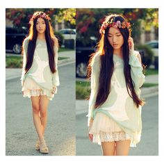 diy floral headdress ❤ liked on Polyvore featuring lookbook, people and pictures