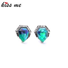 Concise Style Modern Women Party Jewelry Sparkling Blue Crystal Stud Earrings