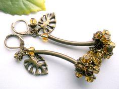 Brass cluster dangle earrings glass berries earrings by BeAliter