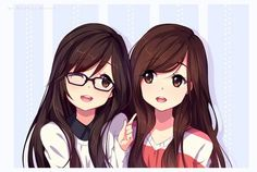 Cute anime twin girls with glasses | their so kawaii!! (Looks like their opposite too like one popular and one nerdy <3)