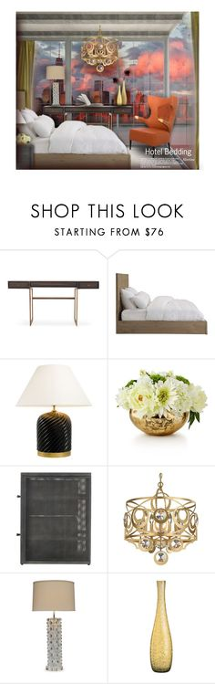 """Hotel Bedding"" by thewondersoffashion ❤ liked on Polyvore featuring interior, interiors, interior design, home, home decor, interior decorating, Mitchell Gold + Bob Williams, Eichholtz, John-Richard and Trilogy"