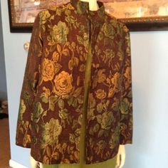 Coldwater Creek lightweight earthtone jacket   Get ready for Fall & Harvest season This jacket is very elegant and will give any outfit just that extra glamour! Can been dressed up or down looks great with jeans! Size: petite extra large. Coldwater Creek Jackets & Coats